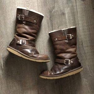 UGG Sutter Brown Buckle Leather Boots